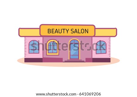Modern Nice Beauty Salon Building City Vector Illustration Isolated On White Background