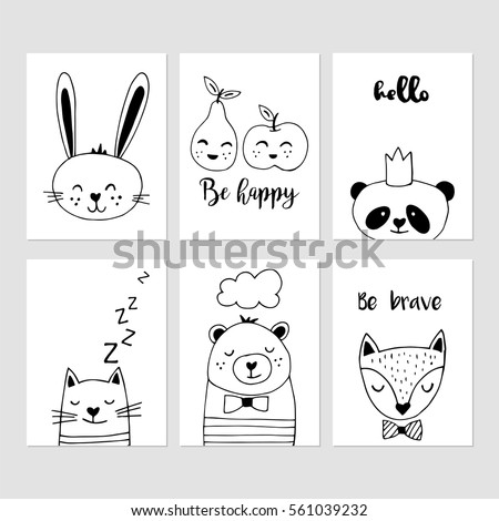 Modern nursery decor black and white hand drawn vector illustrations cute animals cards design