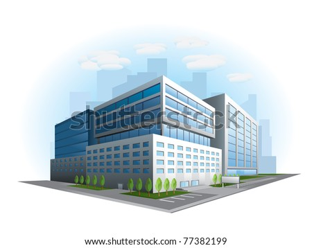 modern office building vector - stock vector