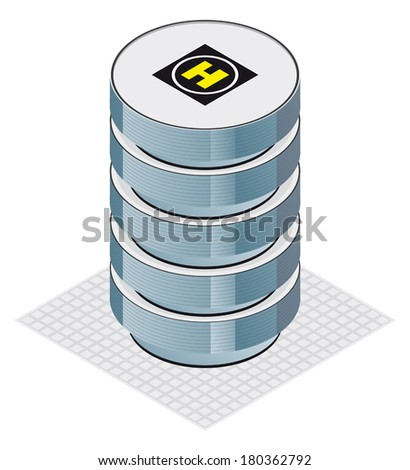 modern office building with helicopter landing pad, isometric projection  - stock vector