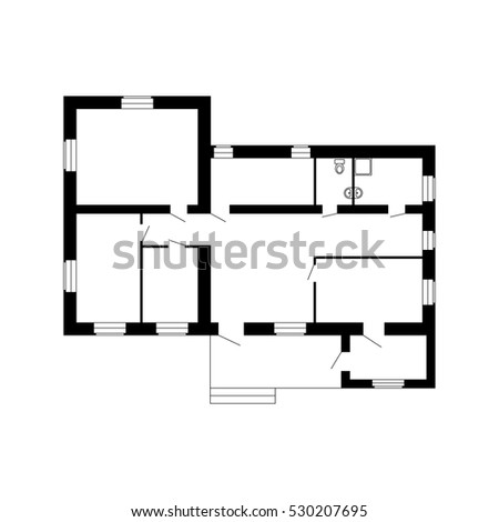 Modern office floor plan without furniture stock vector 2018 modern office floor plan without furniture for your design vector black and white blueprint malvernweather Gallery