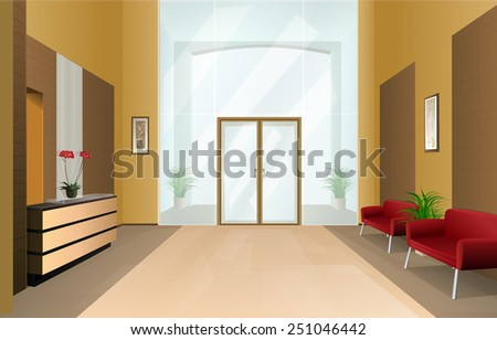 Modern Office Hall in Business Center - stock vector
