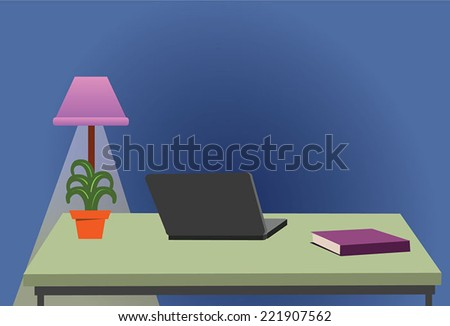 Modern office interior Desk with Laptop in the office and office furniture. Isolated on stylish coloured background - stock vector
