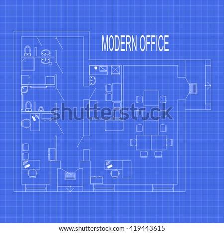 Modern office interior furniture on graph stock vector 419443615 modern office interior with furniture on graph paper vector blueprint malvernweather Gallery
