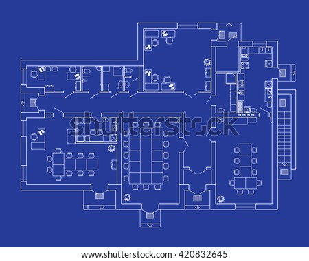 Modern office interior furniture vector blueprint vectores en stock modern office interior with furniture vector blueprint architectural background malvernweather Choice Image