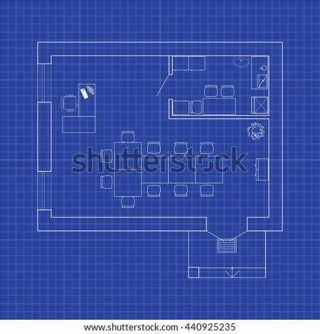 Modern office interior furniture vector blueprint stock photo photo modern office interior with furniture vector blueprint office background malvernweather Choice Image