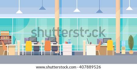 Modern Office Interior Workplace Desk Flat Vector Illustration - stock vector