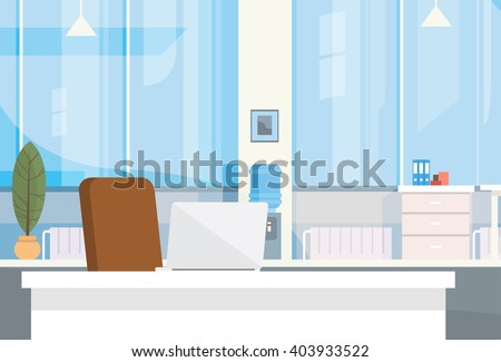 Modern Office Interior Workplace Empty Chair Desk Flat Vector Illustration
