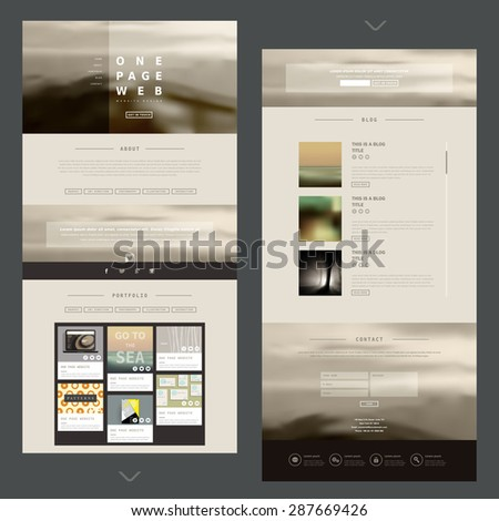 modern one page website design template with blurred background - stock vector
