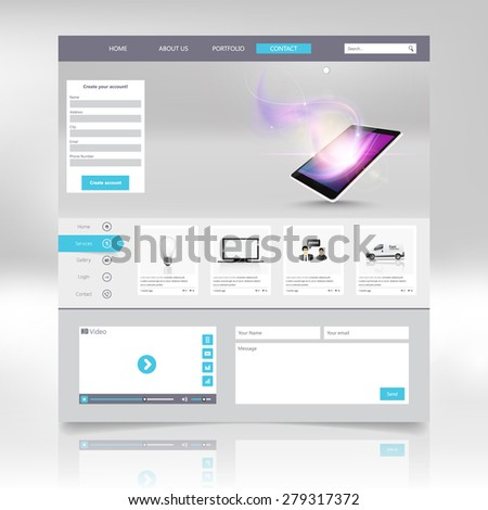 Modern One page Website template design -vector - stock vector