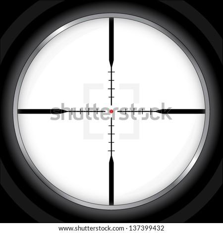 modern optic crosshair with red dot / vector illustration - stock vector