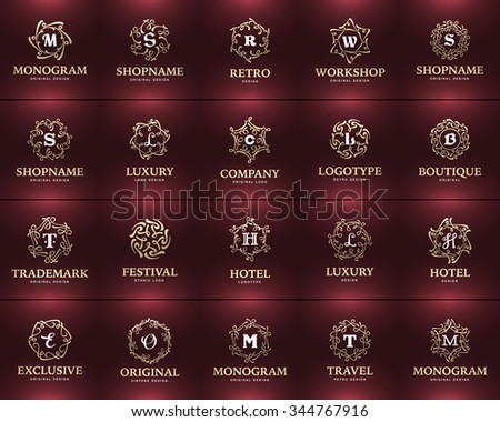 Modern or Vintage Frame and Luxury Logos set for Restaurant, Hotel, Boutique or Business Identity. Graceful Elegant calligraphic design elements. Vector Illustration Template.  - stock vector