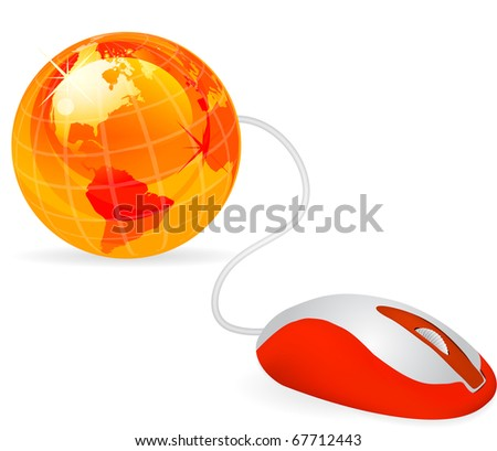 modern orange computer mouse connected to a orange globe on white - stock vector