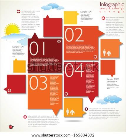 Modern orange Design template - stock vector