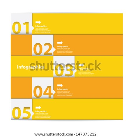 Modern orange progress paper Design template / can be used for infographics / numbered banners / graphic or website layout vector - stock vector