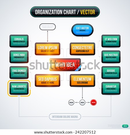 Modern organization chart template with glowing lights on white background. EPS10 - stock vector