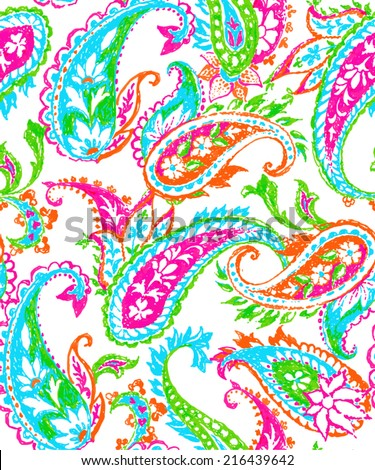 modern paisley seamless pattern - stock vector