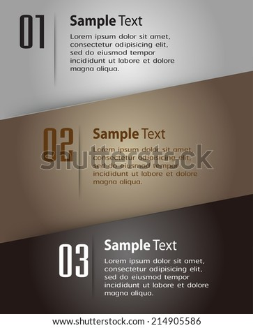 modern paper text box template for website and graphic, numbers. - stock vector
