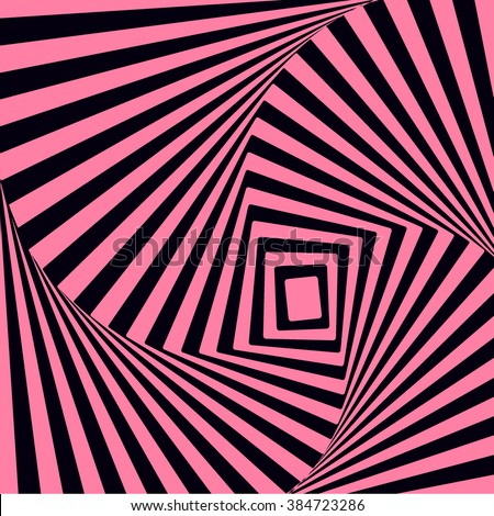 Modern pattern in vortex movement illusion  style, abstract striped distortion backdrop in pink and black colors. optical illusion with effect of motion and volume. - stock vector