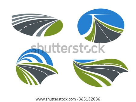 Modern paved roads and speed highways passing among scenic nature landscapes with green fields, lake and bright blue sky above. Isolated transportation symbols for travel design - stock vector