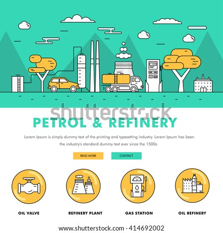 Modern petrol industry thin block line flat color icons and composition with gas station technology and development gasoline program  - stock vector