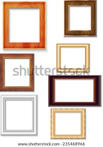 Modern picture frames on white background