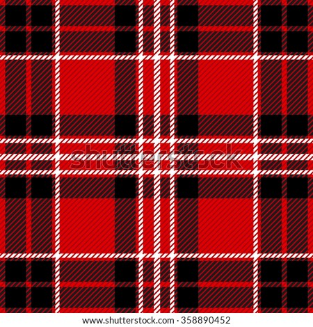 Modern plaid seamless checkered vector pattern. Retro textile collection. Black, red with white stripes. Backgrounds & textures shop.  - stock vector