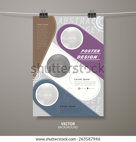 modern poster template design in grey, purple, blue and white - stock vector