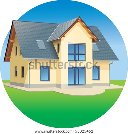Modern prefabricated family house, vector illustration - stock vector