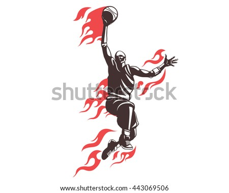 Modern Professional Basketball Player In Action Logo - Flying On Fire Dunk Competition - stock vector