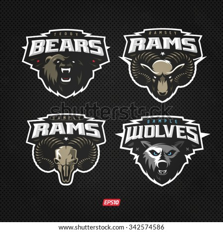 Modern professional logo set with wolf ram and grizzly bear for a sport team - stock vector