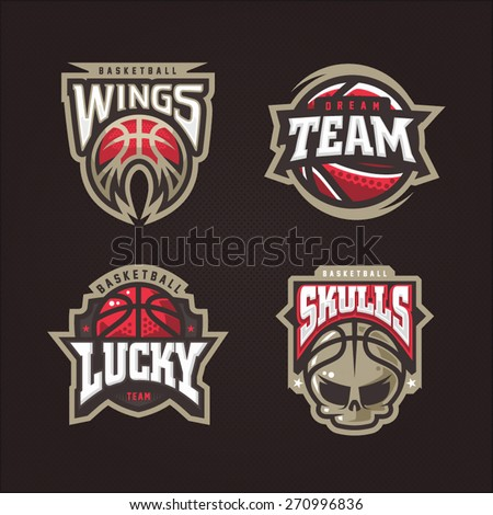 Modern professional vector logo set for a basketball team - stock vector