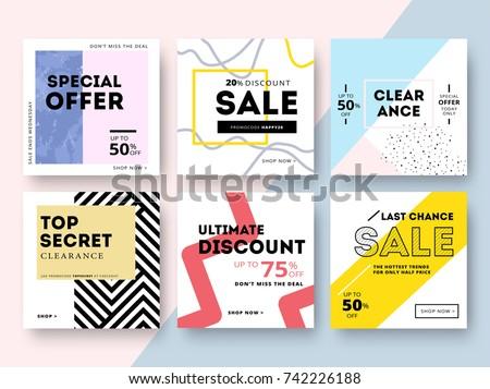 modern promotion square web banner social stock vector 742226188 shutterstock. Black Bedroom Furniture Sets. Home Design Ideas