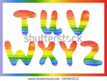 modern rainbow crayon alphabet crayon font stock vector 269064212