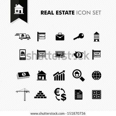 Modern Real Estate rental, sell and purchase icon set. Vector file in layers for easy editing. - stock vector