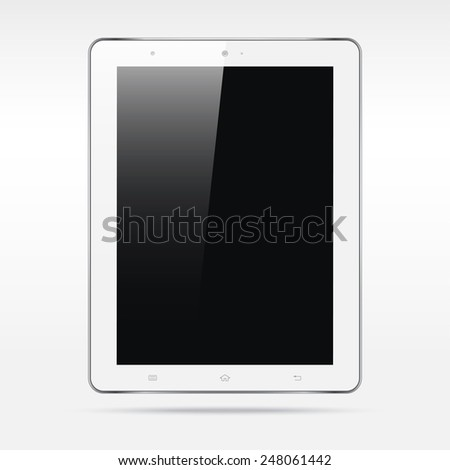 Modern realistic android white touchscreen tablet computer  isolated on light background. Empty screen - stock vector