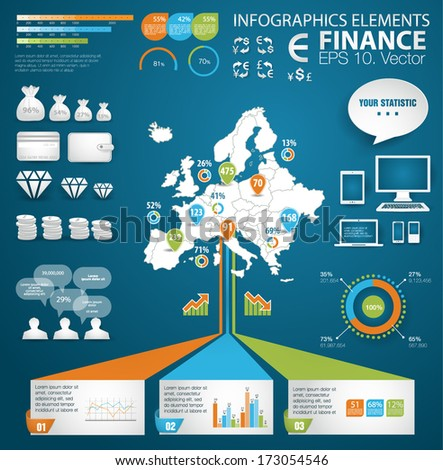 Modern realistic papers  infographics set. Europe Map and Information Graphics with finance icons. Easy to edit - stock vector