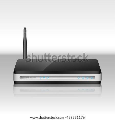 Modern Realistic Wireless Router with the antenna for internet connection. Wireless ADSL Router Icon. Wireless router vector illustration, isolated. - stock vector