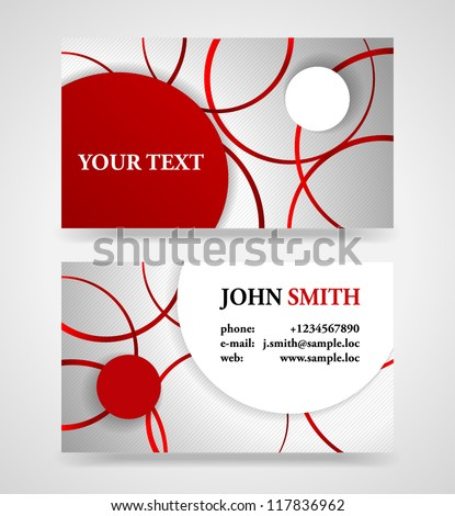 Modern red and gray modern business card template. - stock vector