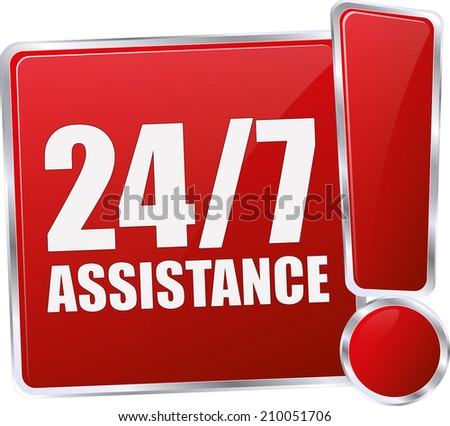 modern red 24/7 assistance sign - stock vector
