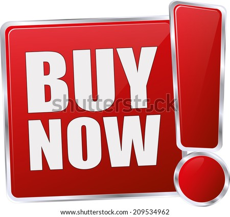 modern red buy now button - stock vector