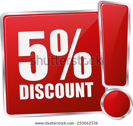 modern red 5% discount sign - stock vector
