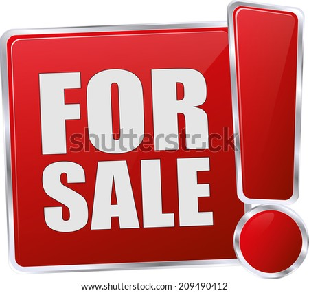modern red for sale sign - stock vector