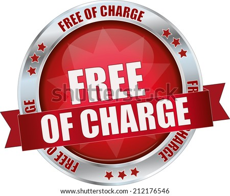 modern red free of charge sign - stock vector