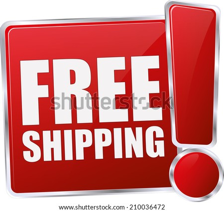 modern red free shipping sign - stock vector