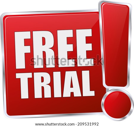 modern red free trial sign - stock vector