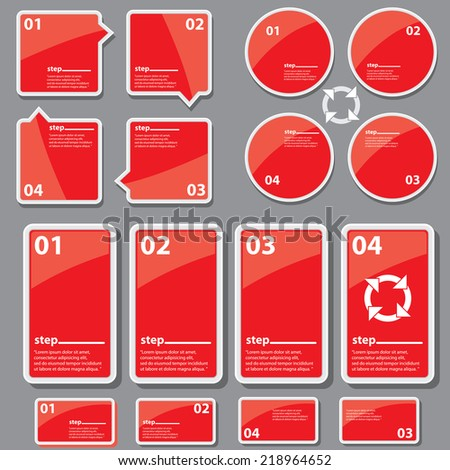 modern red progress paper design template / can be used for infographics / numbered banners / speech bubbles / graphic or website layout vector - stock vector