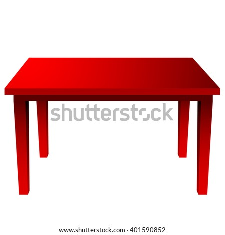 Modern red table against white background