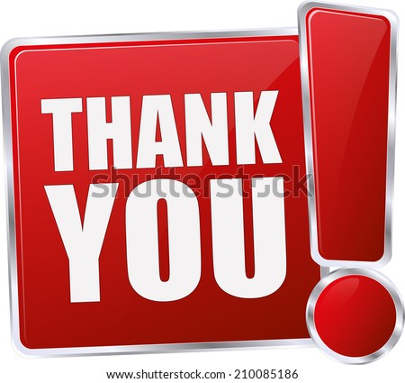 modern red thank you sign - stock vector