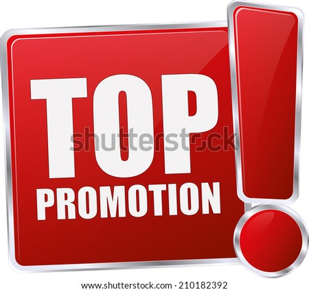modern red top promotion sign - stock vector